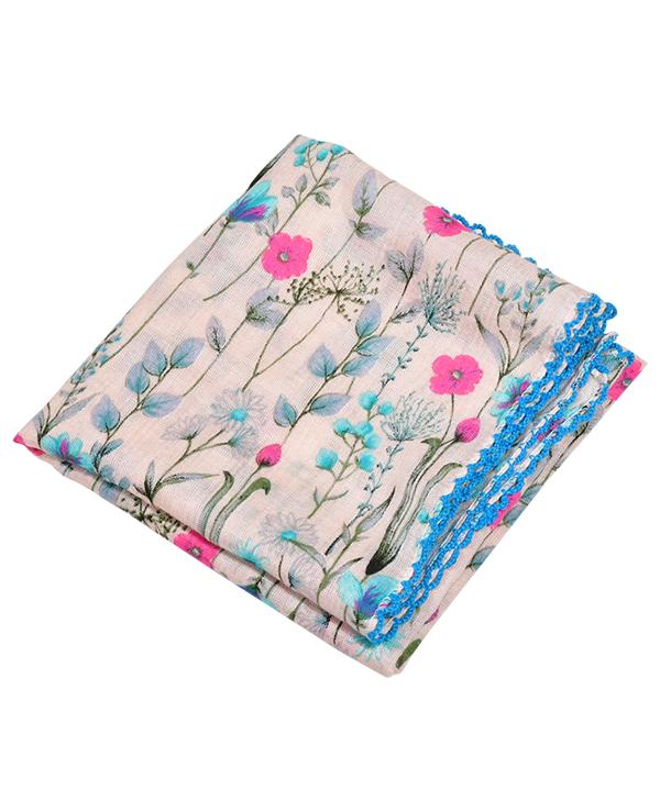 (영화)(엠보큐티/면)플라워 패턴 부드러운 소재 고퀄리티 엠보 큐티 손수건